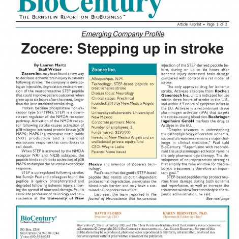 Zocere Featured in BioCentury